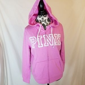 PINK Victoria Secret Perfect Full Zip Logo Hoodie